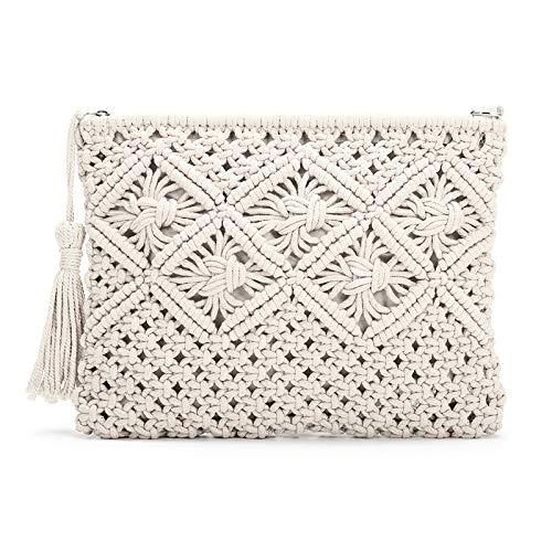 JOSEKO Clutch Purses for Women, Tassel Straw Handbag Vintage Handwoven Bag Summer Beach Bag Cammello,bianco