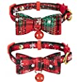 Christmas Cat Bow Tie Collar Breakaway Small Dog Collars with Bell
