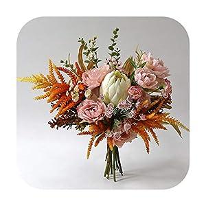 HaHapo Protea Flower Pink Bridal Bouquet Silk Wedding Bouquet King Protea Bouquet Boho Bouquet Wedding Accessories Home Decoration-Pink