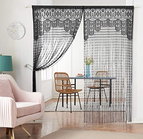 HSYLYM Lace Door Srting Curtain Warm Sheer Curtains Flat Tassel Ribbon Curtain Window Panel Room Divider Wall Decorations,Black,90x240cm(35x94inch)