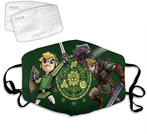 Anime masks for men Legend of Zelda Li-nkle Mouth Mask Windproof Filter Reusable Face Cover Adjustable Ear Loops for Men Women Wi-nd Wak-er Vs Twil-ig-ht Princ-ess face mask with filter pocket