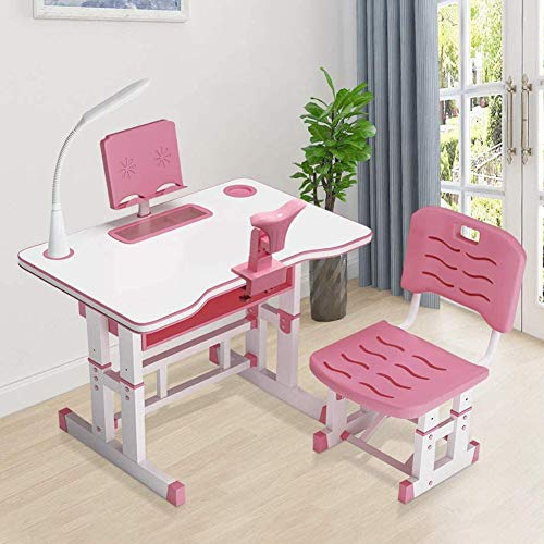 Kids Study Desk and Chair Set, School Bedroom Student Writing Desk W/Pull Out Drawer Storage, Height Adjustable Kids Desk and Chair Set,Ergonomic Student Writing Desk for Studying80CM-pink