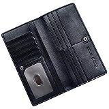 RFID Blocking Ultra Slim Real Leather Credit Card Holder Clutch Wallets for Women (Black)