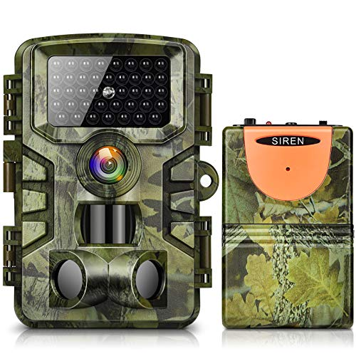 """CAMOLO Wildlife Camera 24MP 1080P with Wireless Alarm, Trail Camera with 120° Wide Angle Lens, Infrared Night Vision Motion Activated, IP66 Waterproof and 2.0"""" LCD IR LEDs Scouting Game Camera"""