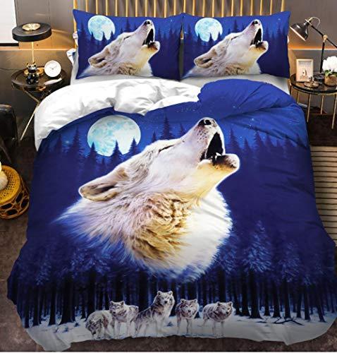 NIASGQW Winter Luxury Soft Bettbezug 3D Drucken Der Ruf des Wilden Wolfes - Gebürstet Microfaser 1Bettwäsche 135x200cm + 2 Kopfkissenbezug 80x80cm mit Reißverschluss