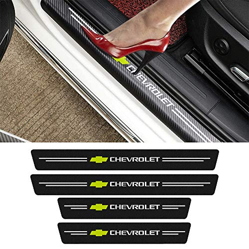 MASHA 4pcs Compatible with Chevrolet Door Entry Guard Decal Sticker Carbon Fiber Front/Rear Scuff Plate Guard,Chevy Door Sill Decoration,Welcome Pedal Protector Cover
