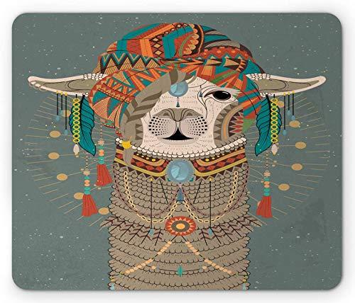 Alfombrilla para ratón Llama, Sombreros Coloridos con Llama con Accesorios Pendientes Collar Animal Abstracto, Alfombrilla de Goma Rectangular Antideslizante Gris Verde - 8.6X 7 Inch