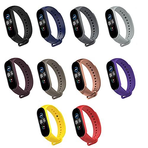 LiLong RUIMING 10 Colores Pulsera de Correas para Xiaomi mi Band 6, Banda de Repuesto de Silicona Suave Pulsera Deportiva ajustable-10 Colorido