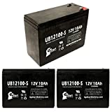 3 Pack Replacement for B & B Battery BP10-12 Battery - Replacement UB12100-S Universal Sealed Lead Acid Battery (12V, 10Ah, 10000mAh, F2 Terminal, AGM, SLA)