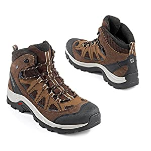 Salomon Men's Authentic Leather & GORE-TEX Backpacking Boots, Black Coffee/Chocolate Brown/Vintage Kaki, 10 M US