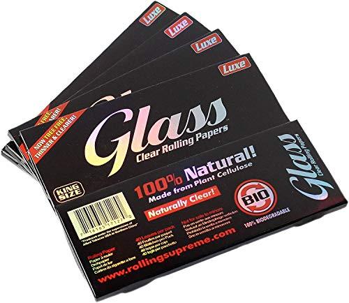 aquasensishop Glass Papers King Size transparent Papes Blättchen Papier Zigarettenpapier 110 x 45 mm, 4 x 40 Blättchen