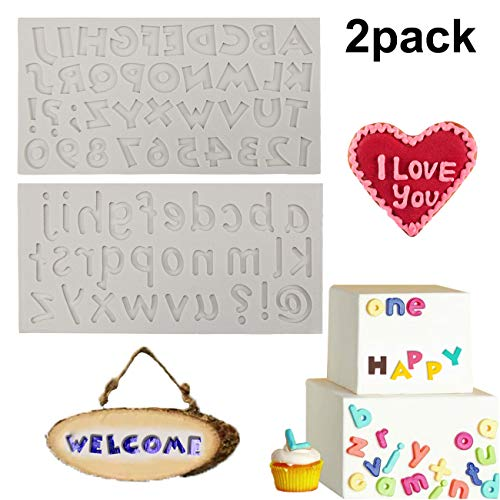 Vodolo (Set of 2) Alphabet Fondant Mold - Uppercase Lowercase Letter & Arabic Numbers Silicone Mold for Cake Decorating Toppers Chocolate Candy Cupcake Sugar Paste Clay Crafts Making