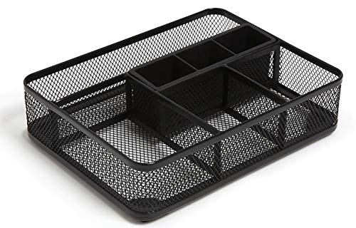 1InTheOffice Mesh Collection Desk Drawer Organizer Tray, Black, 7 Compartment