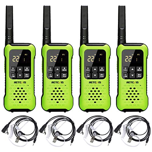 Retevis RT49P Walkie Talkies Rechargeable Long Range,IP67 Waterproof Floating for Adults,VOX NOAA Dual Watch SOS with Headsets,for Hiking Skiing Surfing(4 Pack)
