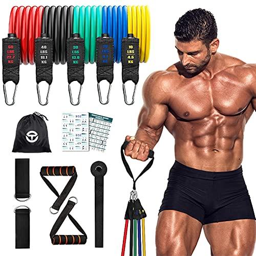 Fitnessbänder Set Widerstandsbänder 150lbs Resistance Bands 11 Pack Fitnessband für Krafttraining zu Hause Physiotherapie Stretching Pull-up-Geräte für Männer und Frauen mit Langen Trainingsband
