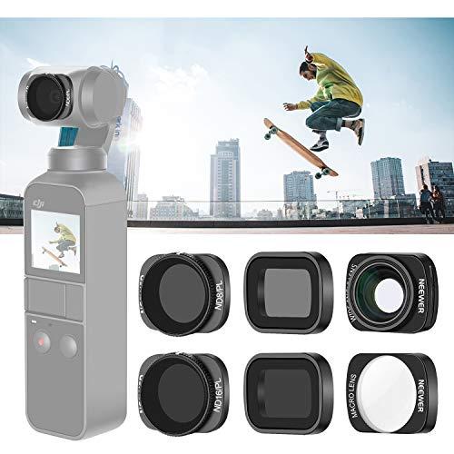 Neewer Kit de Filtre d'Objectif Compatible avec DJI Osmo Pocket Caméra: ND8 ND16 ND8/PL ND16/PL, 10X Macro, 0,65X Objectif Grand Angle, Filtre Magnétique, Idéal pour Photo Vidéo Extérieur