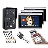 Timbre de video Tuya Wifi, sistema de videoportero de 7 pulgadas, intercomunicador, cámara de visión nocturna + 3 monitores, desbloqueo de la APP de contraseña de huellas dactilares