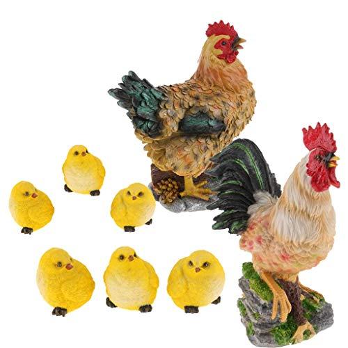 Tubayia 8 Piezas Pollitos realistas gallina Gallo Figura de Animales Jardín Figura para casa jardín decoración