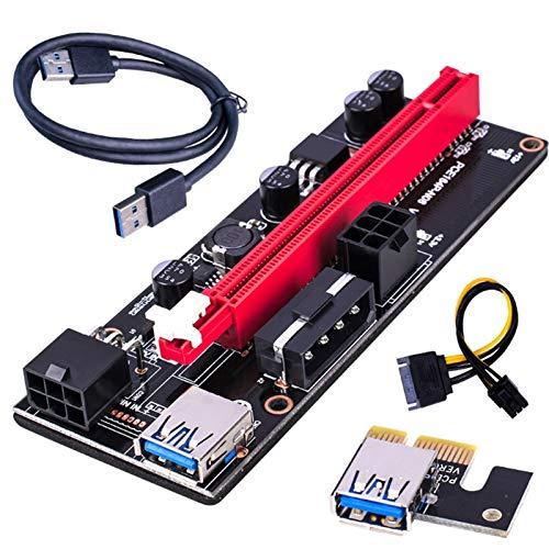 PHLPS PCI-E RISER PARA BITCOIN-LITECOIN-ETH Moneda PCIE VER006C 6 PIN 16X A PCI-E EXPRE Dedicado PCIe Extensión Cable Adaptador Adaptador Tarjeta de extensión Gráficos 16x Cable de extensión Dual 6Pin