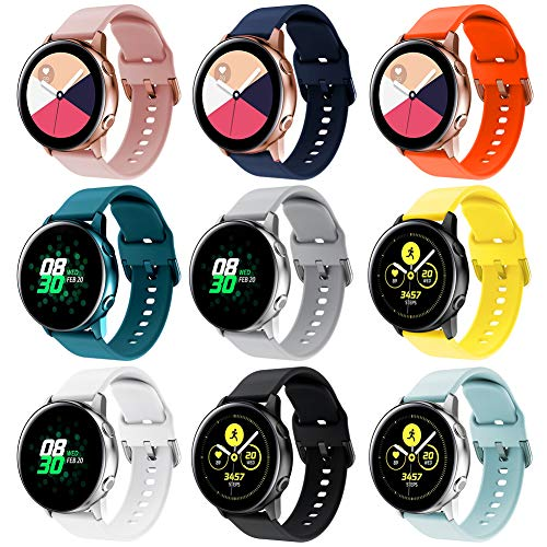 Onedream Correa Compatible con Samsung Galaxy Watch Active/Active 2 44mm 40mm Pulsera Silicona Mujer Hombre, Repuesto Compatible con Samsung Galaxy Watch 42mm/ Galaxy Watch 3 41mm 9 Colores