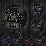 XDG Barber Shop Wanddekor Vinyl Schallplattenuhr Geschenk zur Eröffnung Feier Friseur Beauty Salon Einzigartige lasergeschnittene LP Uhr Uhr (Größe: 12 Zoll mit LED)