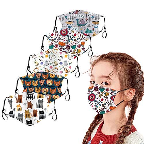 5X Kinder Mundmasken Maske waschbar, Wiederverwendbare Stoffmaske aus Baumwolle Baby Halstücher Schals Kinder Säuglinge Baumwolle Ultraleichte Wärmer Bequem