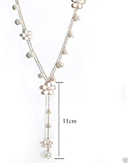 Cafurty Fashion Women Pearl Flower Sweater Chain Long Pendant Necklace New Jewelry