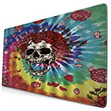 CANCAKA Large Gaming Mouse Pad,Sugar Skull Rose Flower Gothic Rainbow Classic Creative Day of Dead Skeletons Vintage Rustic Halloween,Non-Slip Rubber Mouse Pads Mousepad for Gaming Computer
