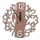 22cm de Diámetro, Reloj de Pared de Madera en Forma de árbol Grande, Casa, Sala de Estar, TV, Decoración de Fondo