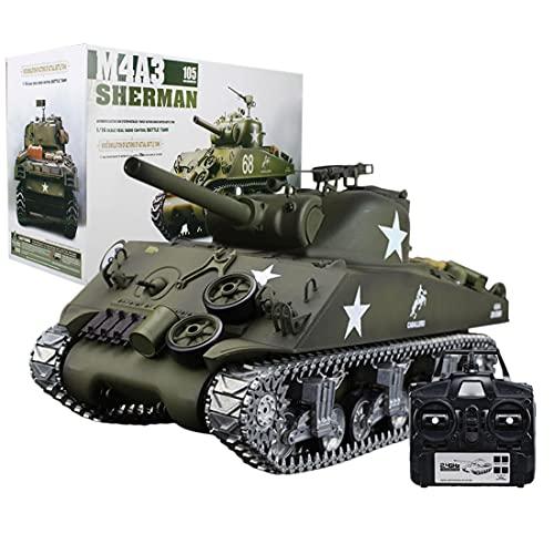 SESAY Ferngesteuerter Panzer, 1:16 2.4GHz RC Militär WW2 US Sherman M4A3 Panzer Modell mit Schussfunktion, Ton Effekt und Raucheffekt, Ferngesteuertes Panzer Spielzeug für Kinder Erwachsene