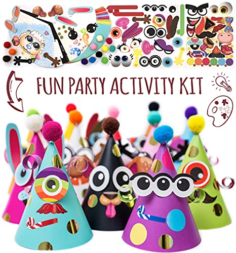Party Hats Birthday Activity Kit with Stickers, Fun Arts & Crafts for Kids....