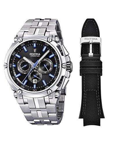 Festina Herren Chronograph Quarz Uhr mit Edelstahl Armband F20327/7