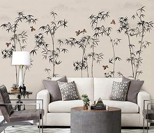 3D groot fotobehang, luxueus, niet geweven, foto, zelfklevend, decoratie, bamboe, bos, vogelgroep, papier, behang, muurprint 350 * 245cm Fo82