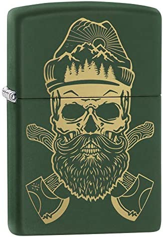 Zippo Outdoor Skull Design Green Matte Pocket Lighter One Size product image