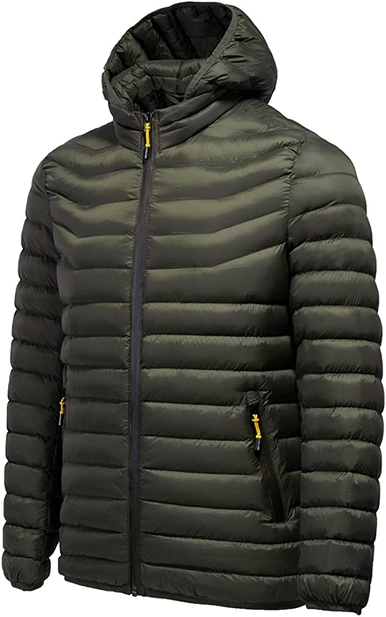 Men's Long Sleeve Hooded Transverse Stripes Solid Color Brife Style Warm Keeping and Windbreak Down Alternative Coats
