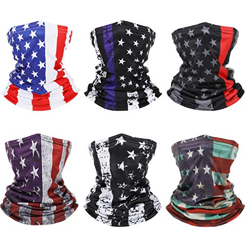 6 Pieces American Flag Face Cover Neck Gaiters US Flag Face Bandana Balaclava Sun UV Wind Protection for Winter Summer