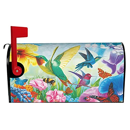 DZGlobal Humming Birds Magnetic Mailbox Cover Butterfly Colorful Flowers Post Box Garden Yard Home Decor for Outside Standard Size-21x 18 in