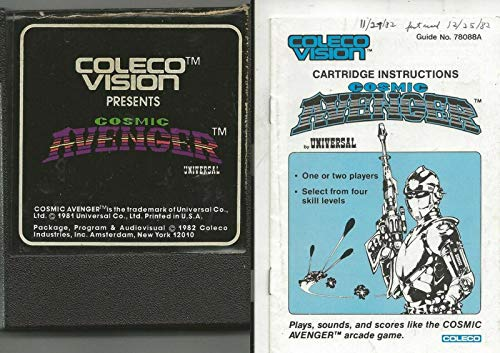 ORIGINAL Vintage 1982 ColecoVision Cosmic Avenger Cartridge + Manual