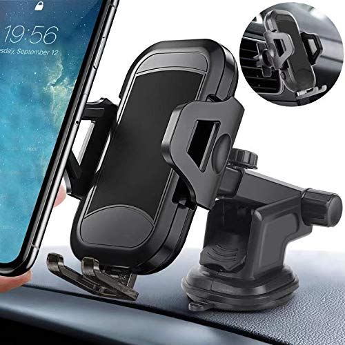 360° Rotation Easy Clamp Car Phone Mount, Dashboard Air Vent Hands Free Car Phone Holder Windshield Strong Suction Cup Tight Stable Compatible iPhone X/XR/XS/8 Plus/8/7/6s, Samsung S10/S9/S8/S7