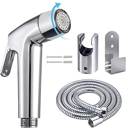 Spruzzatore a mano per bidet – in ABS Shattaf WC, soffione doccia per lavabo o WC, con tubo flessibile da 149,9 cm acciaio inox e supporto per staffa