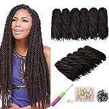 6 paquetes de cabello natural Twist Marley Extensiones Afro Kinky Extensiones de cabello rizado Trenzas de fibra sintética Cabello (18 pulgadas, 4 #)