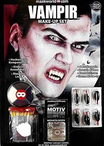 Hochwertiges Halloween Schminke Komplett-Set Vampir mit perfekt abgestimmten Komponenten - Make-Up - Vampirzähne - Kunstblut - Kontaktlinsen