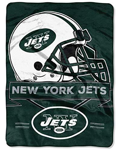 Northwest 0807 New York Jets NFL Royal Plush Raschel (Prestige Series), 60' x 80', Green