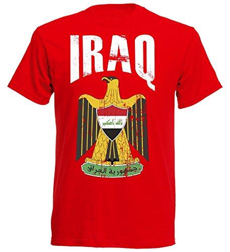 T-Shirt Irak WM 2018 ROT Vintage Destroy Wappen D01 NC (S)