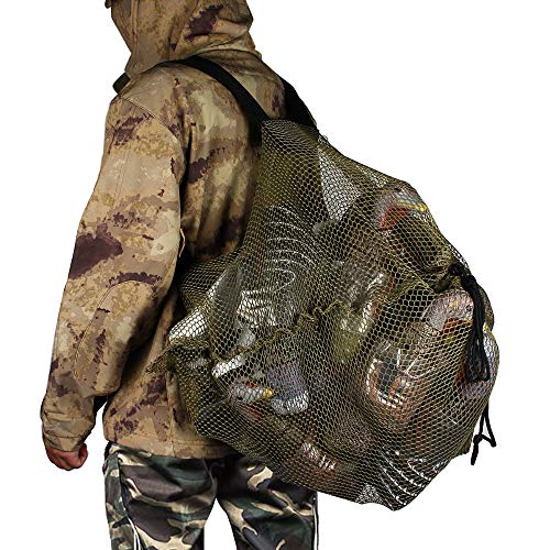 REEKGET Mesh Decoy Bag Hunting Backpack Duck Decoys Bag-Goose Decoy Bags- Turkey Decoys Bags Large-Capacity Bait Bag Drake Decoys Bag (1pcs/Large)
