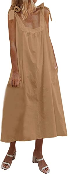 Huaze 2019 Women Strappy Bandage Solid Pocket Skirt Summer Cotton Linen Casual Elegant Dress