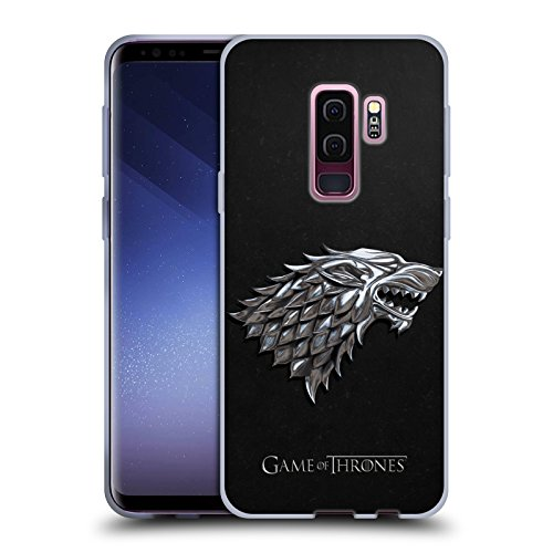 Head Case Designs Officially Licensed HBO Game of Thrones Silver Stark Sigils Soft Gel Case Compatible with Samsung Galaxy S9+ / S9 Plus