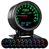GlowShift 3in1 Analog 1500 F Pyrometer Exhaust Gas Temp EGT Gauge Kit with Digital 60 PSI Boost & 150 PSI Pressure Readings - 10 Selectable LED Colors - Black Dial - Clear Lens - 2-3/8' 60mm