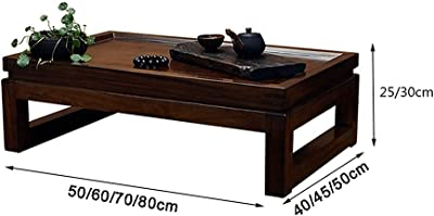 Coffee Tables Solid Wood Hand Carved Retro Wooden Mid-Century Modern Bay Window Small and Low Table