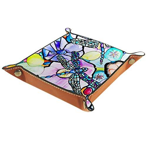 Kleine Aufbewahrungsbox,Herren-Valet-Tablett,Bunte Musterblume der Karikatur,Leder Catchall Organizer für Coin Box Key Schmuck